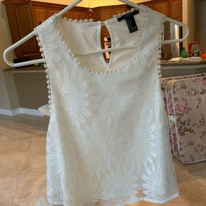 White Wildflower Crop Blouse